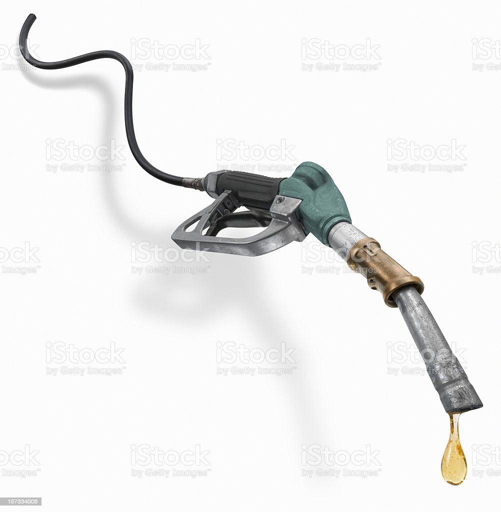 Fuel pump nozzle with last drop of gasoline royalty-free stock photo