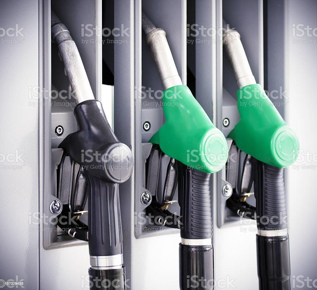 Fuel pump nozzles royalty-free stock photo