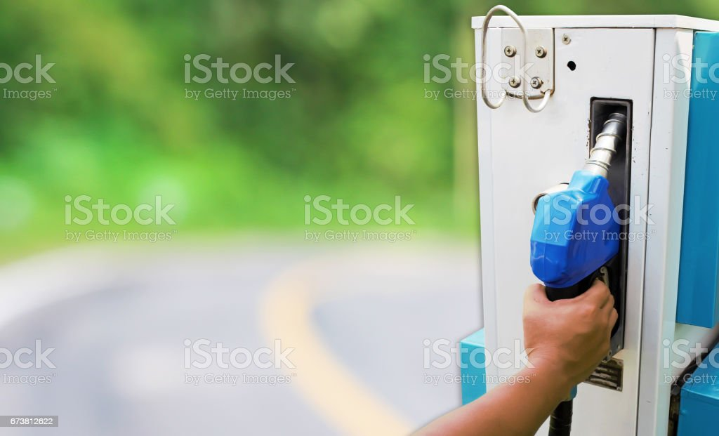 Fuel pump on new road for concept idea. stock photo