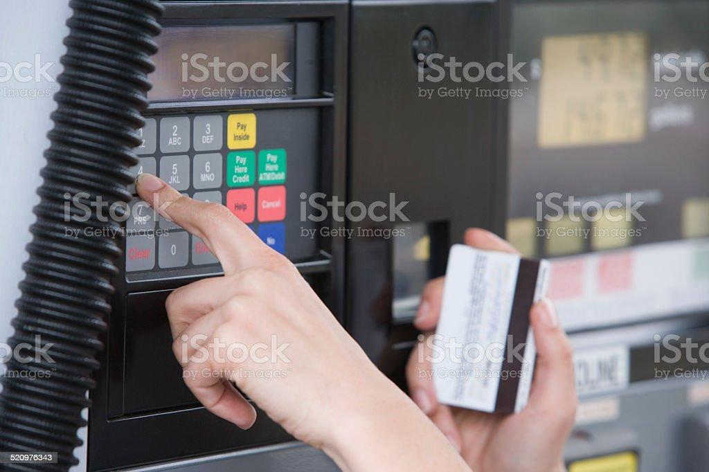 Fuel pump payment kiosk stock photo