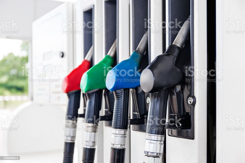 Fuel pumps petrol stock photo