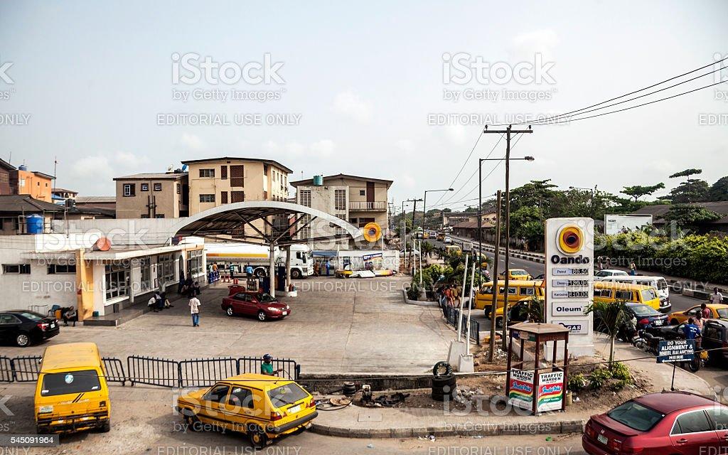 Fuel shortage in Lagos, Nigeria. stock photo