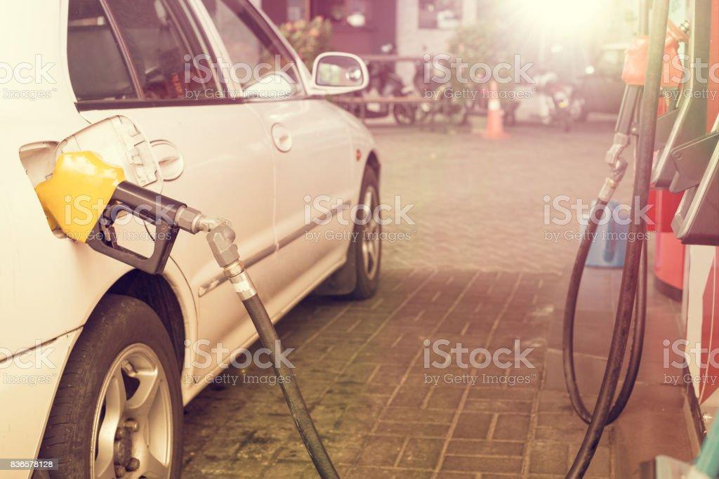 Fuel station car for transportation stock photo