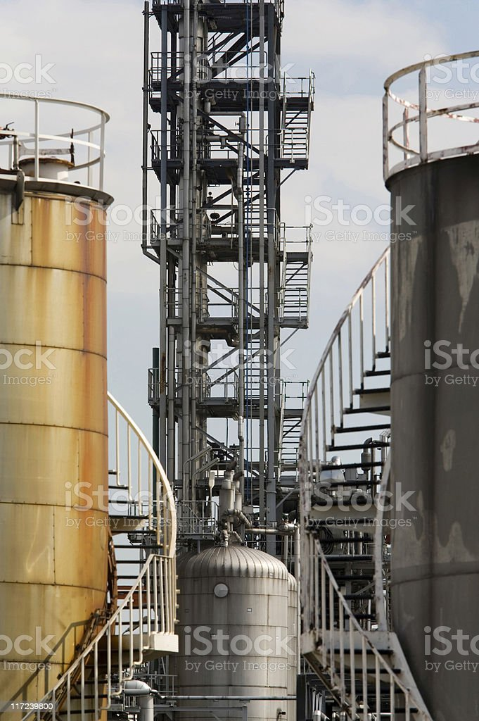 fuel storage tank and production process at an oil refinery royalty-free stock photo