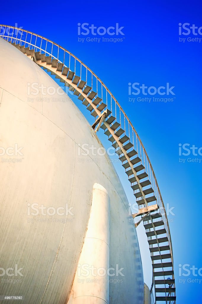 Fuel Storage Tank with Spiral Staircase stock photo