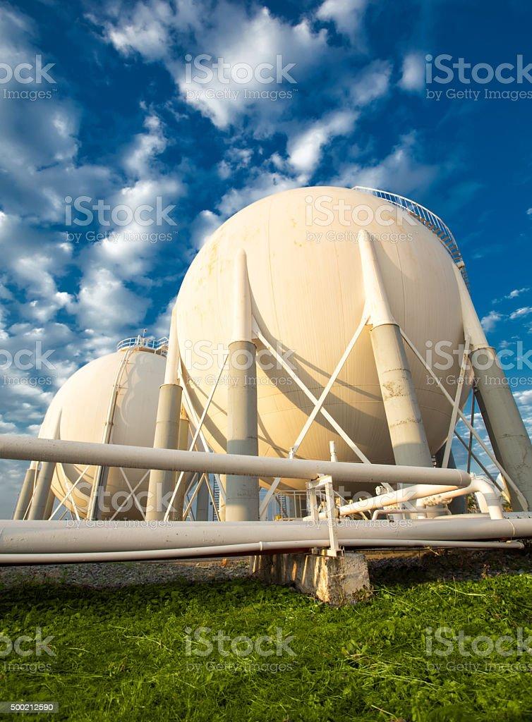 Fuel Storage Tanks and pipeline stock photo