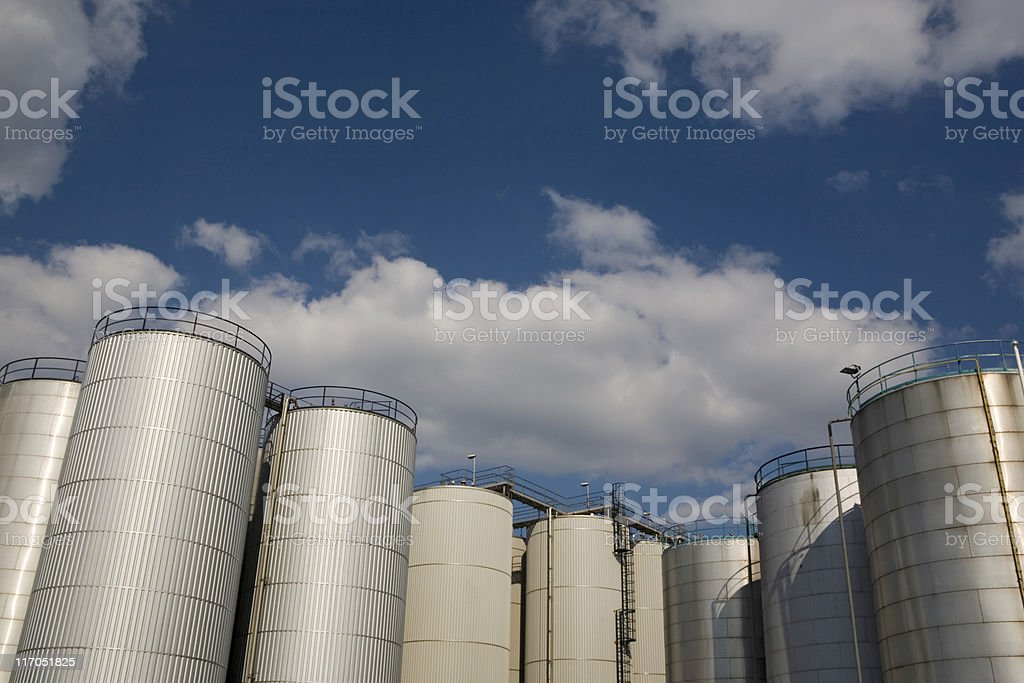 fuel storage tanks at a petrochemical plant royalty-free stock photo