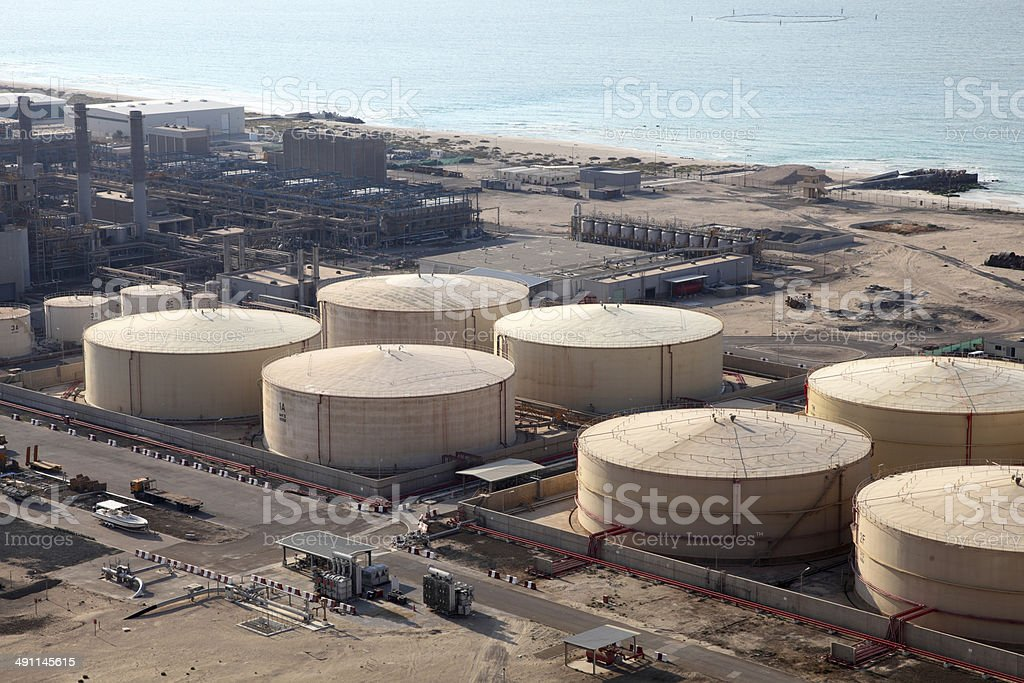 Fuel Storage Tanks at Port royalty-free stock photo