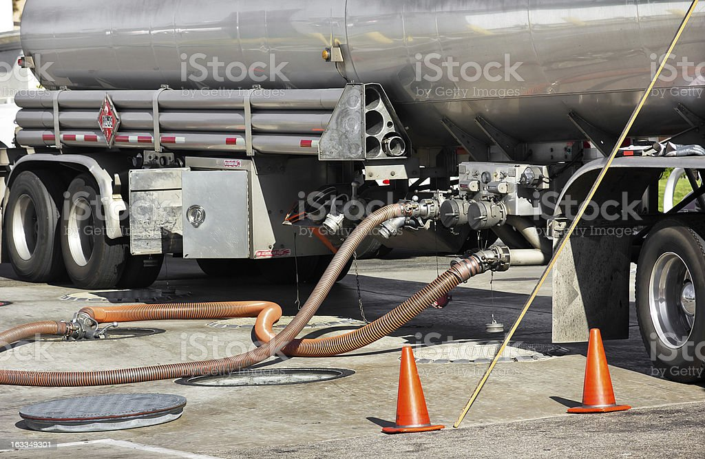 Fuel Tanker Deposits Gasoline stock photo