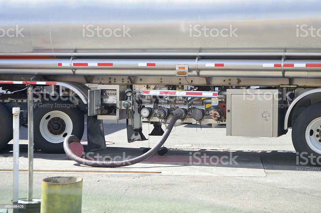 fuel tanker filling service station tank stock photo