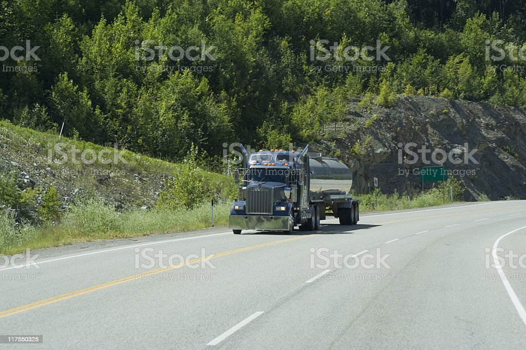Fuel tanker moving on highway 18 stock photo