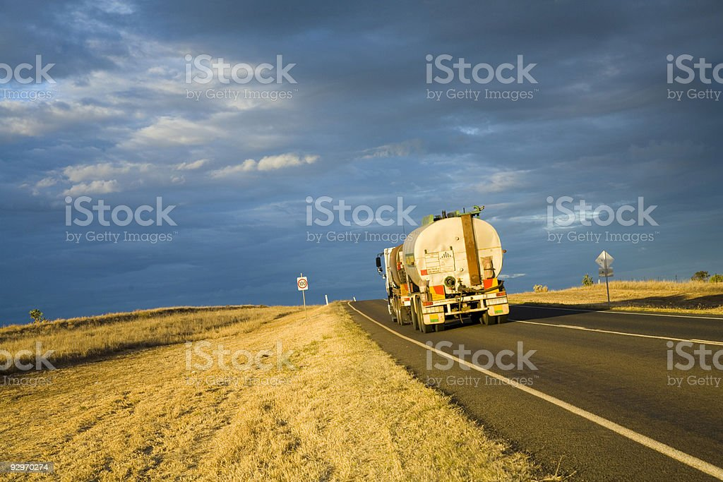 Fuel Tanker on the Road in Outback  Australia royalty-free stock photo