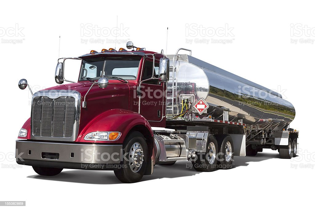 Fuel Tanker Truck Three Quarter View Isolated on White stock photo