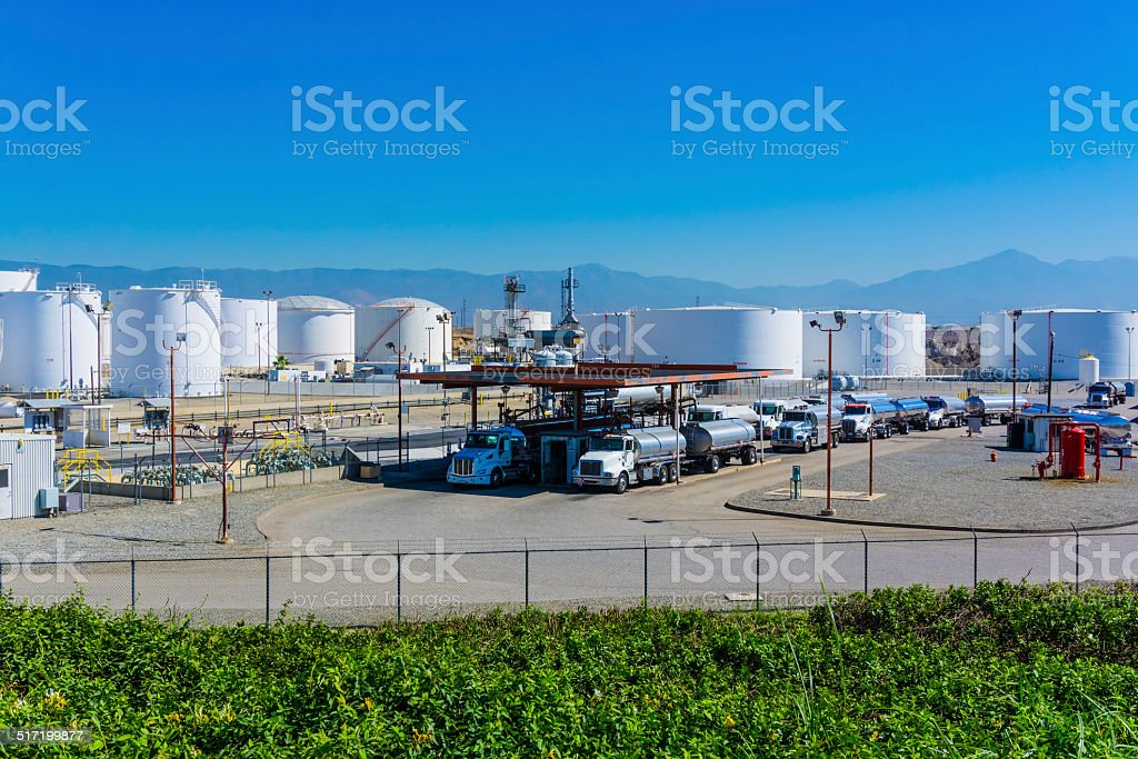 Fuel tanker trucks stock photo