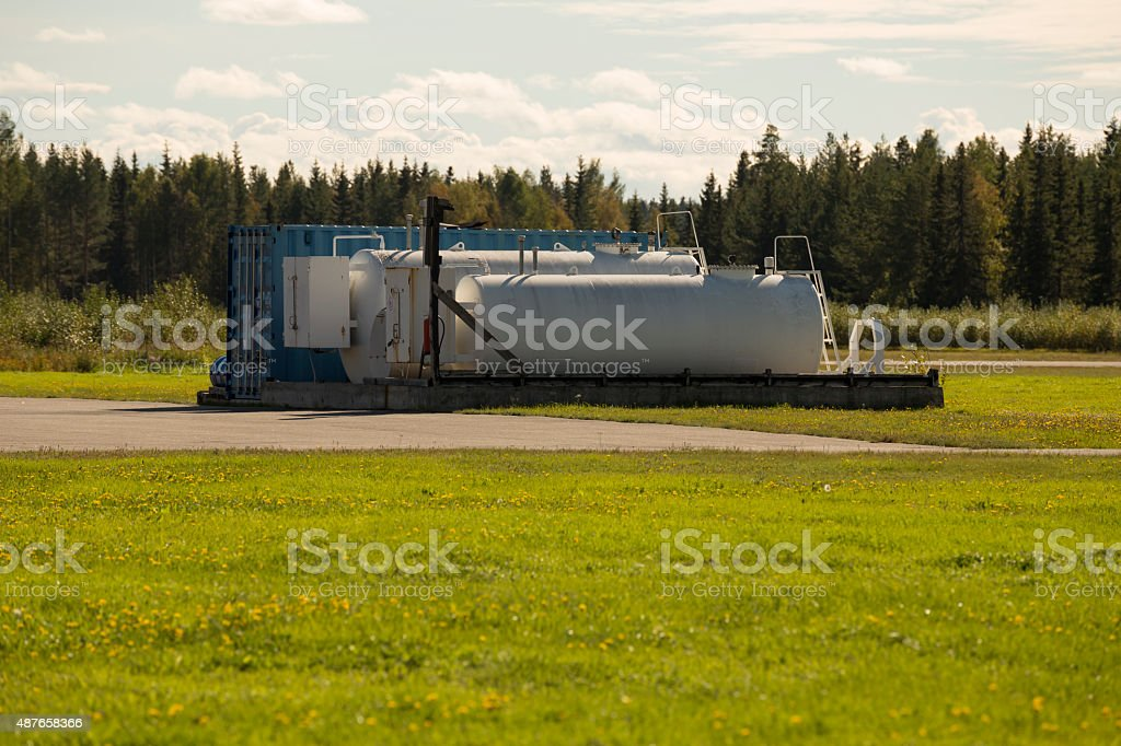 Fuel tanks on an airfield stock photo
