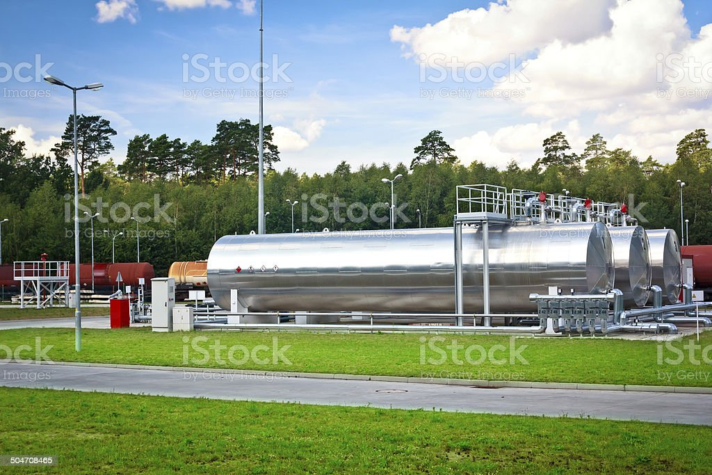 Fuel  tanks on the railway siding royalty-free stock photo