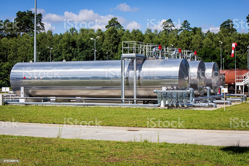 Fuel tanks on the railway siding stock photo