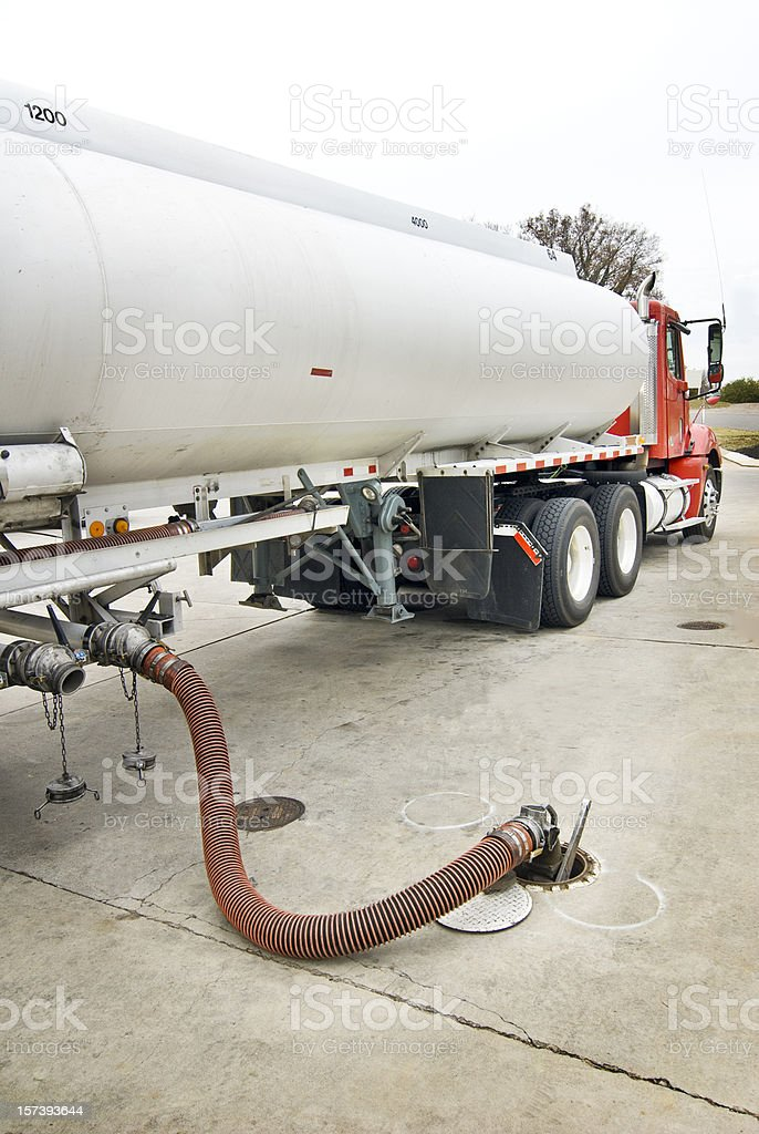 Fuel Truck Delivering Gasoline stock photo