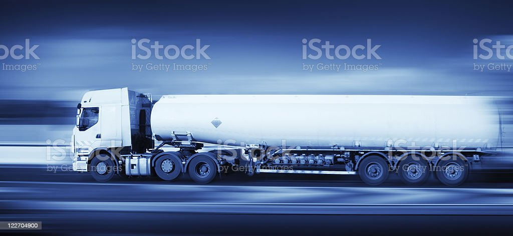 fuel truck in motion, monohromatic royalty-free stock photo