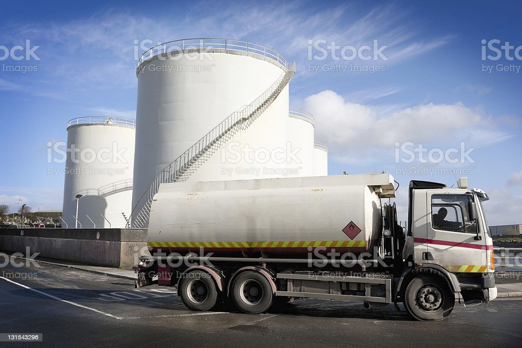 Fuel truck leaving from the fuel Depot stock photo