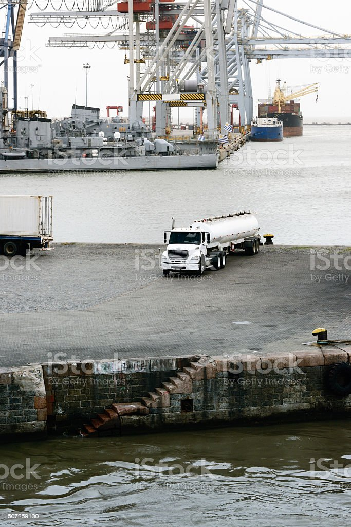 Fuel truck tanker at the port of Montevideo, Uruguay stock photo