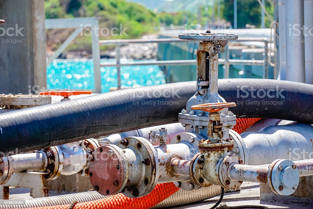 fuel valve at the port stock photo