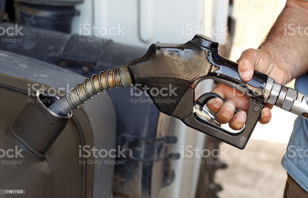 Fueling Up a Transport Truck stock photo