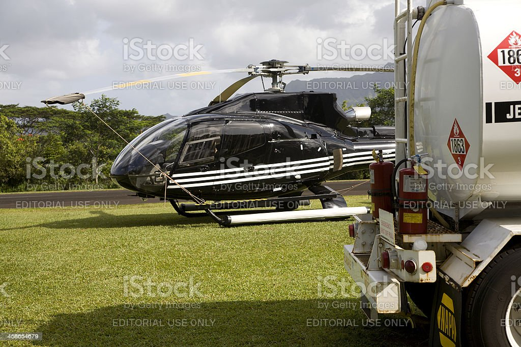 Fueling Up The Whisper Star Sightseeing Helicopter stock photo