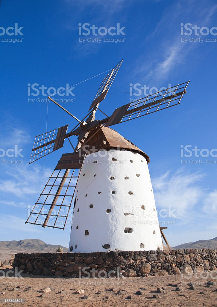 Fuerteventura, Canary Islands, traditional windmill stock photo