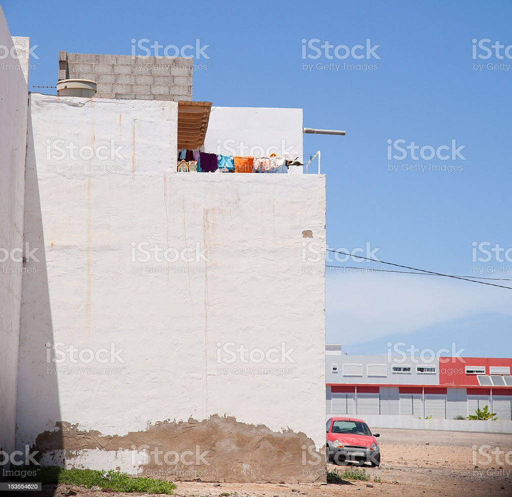 Fuerteventura, Canary Islands - urban abstract with old red car stock photo