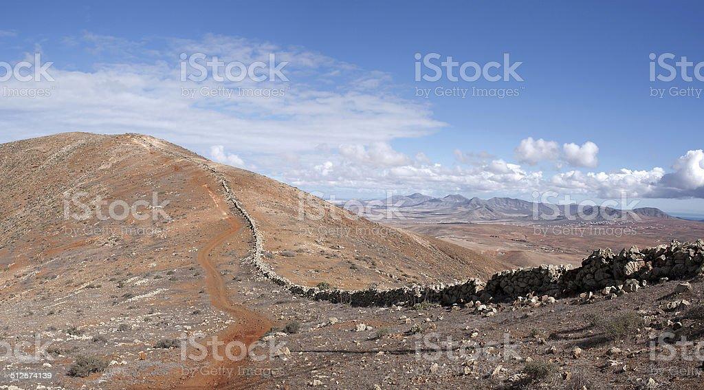 Fuerteventura - Trail on the mountain ridge above Betancuria royalty-free stock photo