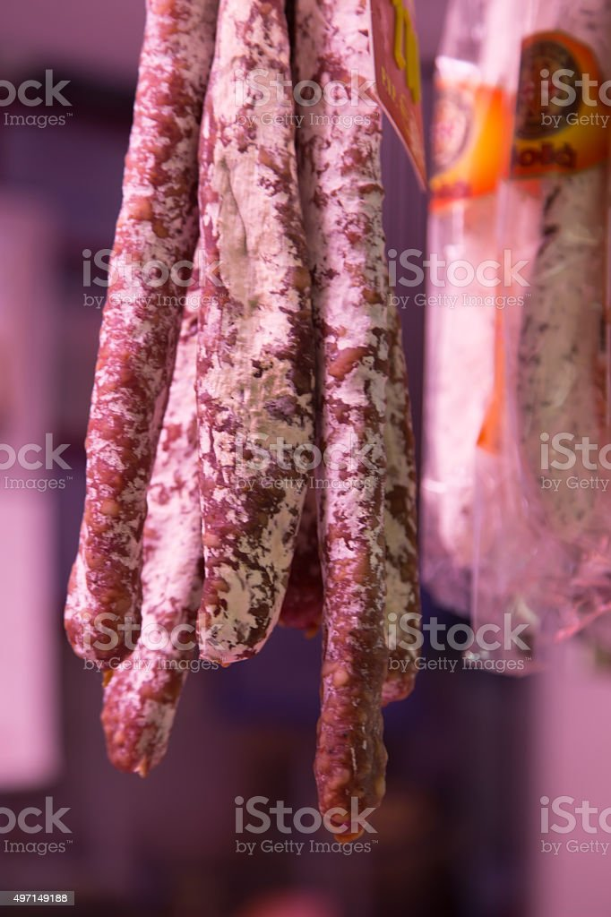 fuet on sale in lo boqueria market, Barcelona. stock photo