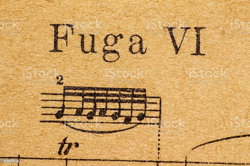 fuga sheet music stock photo