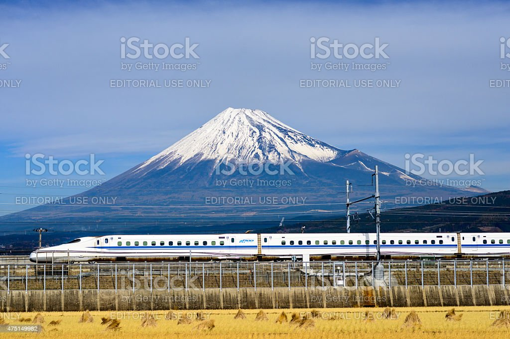 Fuji Mountain and Shinkansen Bullet Train stock photo