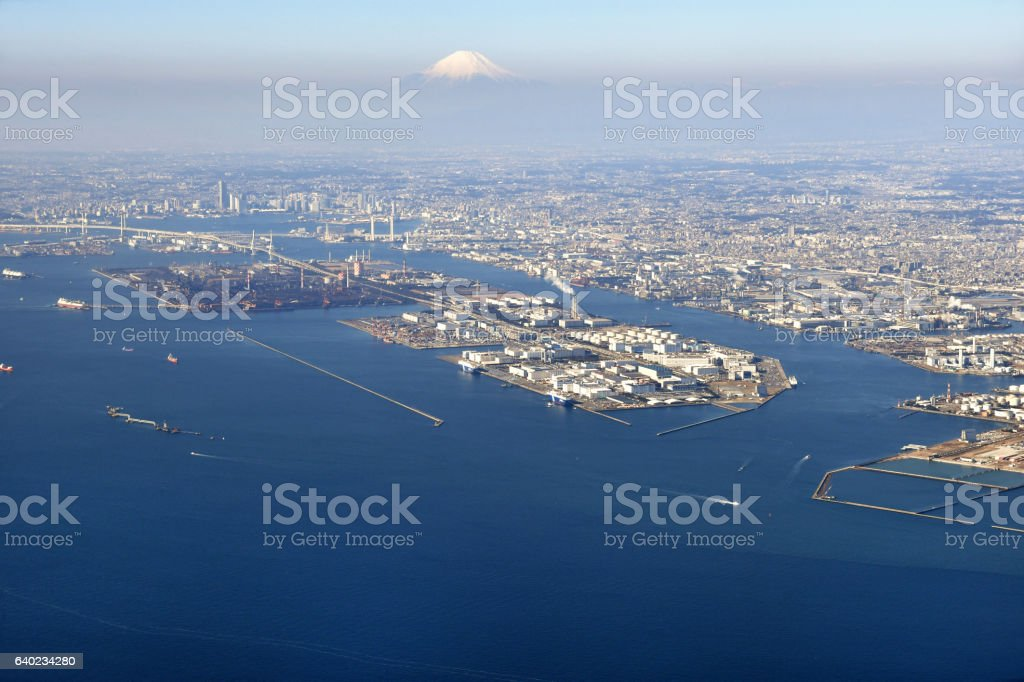 Fuji seen from the sky over Tokyo bay stock photo
