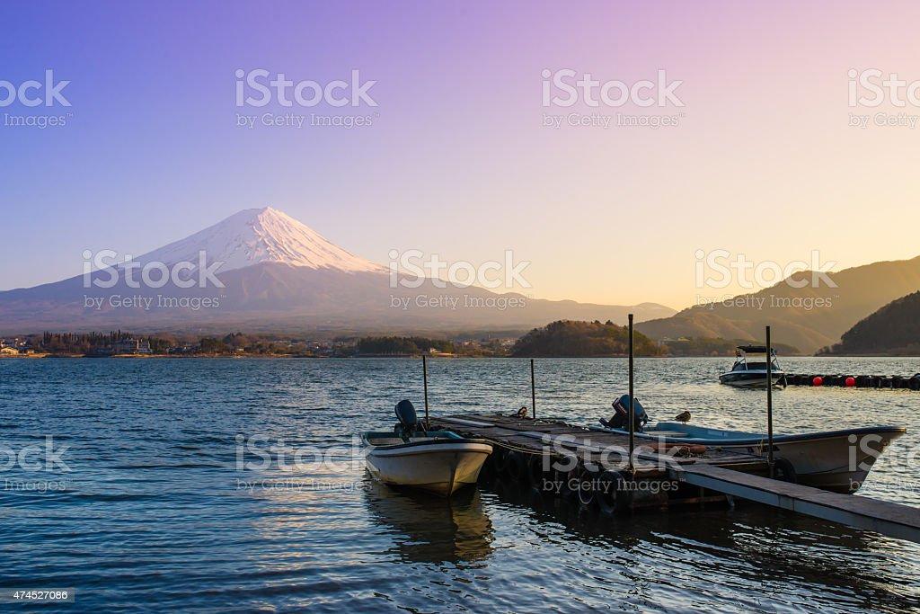 Fujisan (Mt. Fuji) and habour in the twilight sky stock photo