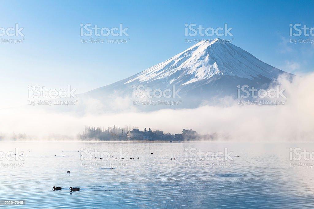 Fujisan in Autumn Mist stock photo
