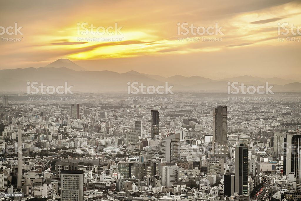 Fujiyama Tokyo City Glowing Sunset royalty-free stock photo
