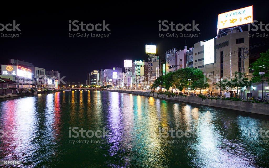 Fukuoka Riverfront District at Night stock photo
