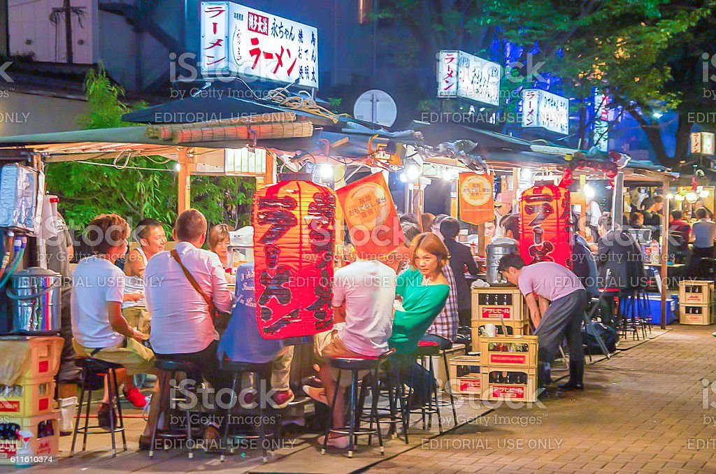 fukuoka's famous food stalls (yatai) stock photo