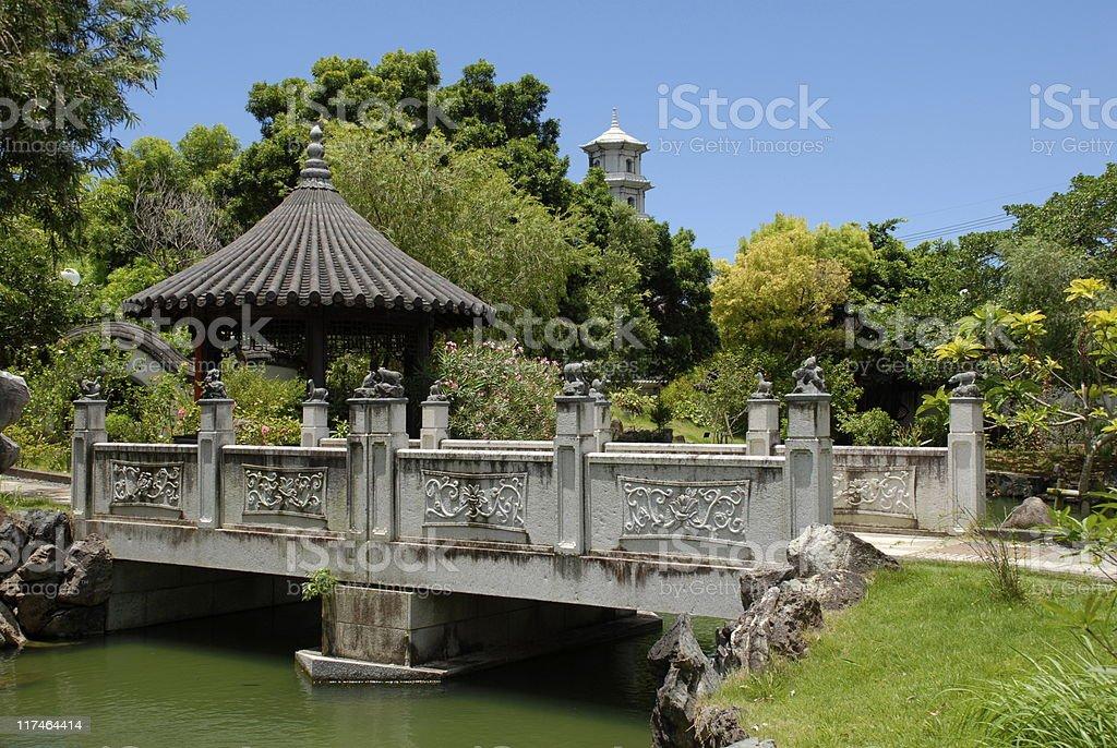 Fukushen Garden Bridge stock photo