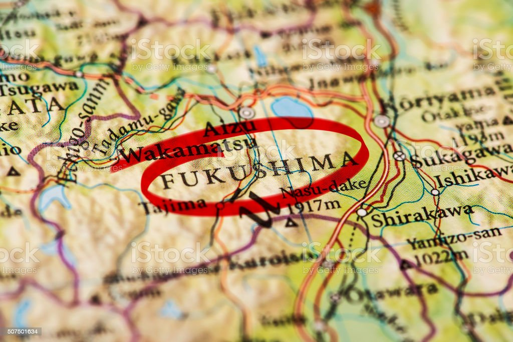 Fukushima marked on map with red marker stock photo