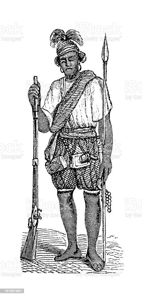 Fula warrior, Africa (antique wood engraving) stock photo