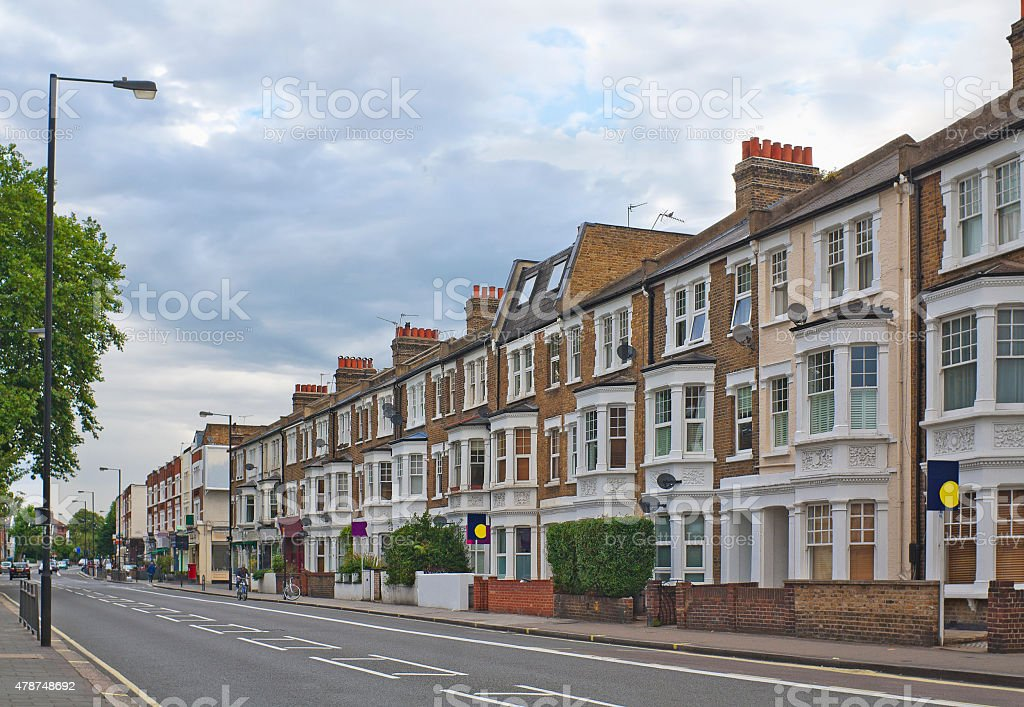 Fulham Palace Road in London, England stock photo