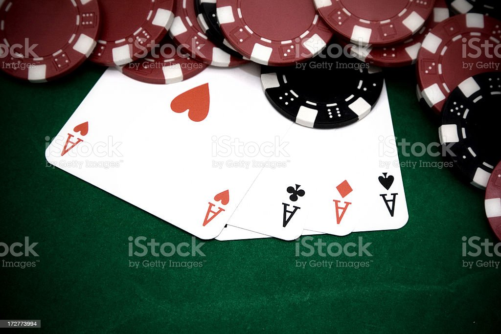 Full aces with big bet stock photo