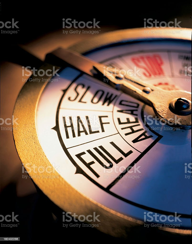 Full Ahead Conceptual with Maritime Speed Control Apparatus. stock photo