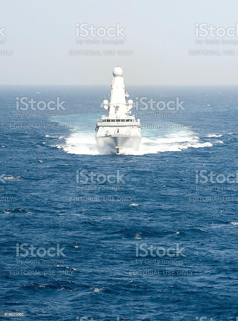 Full ahead, Type 45, Arabian Sea stock photo