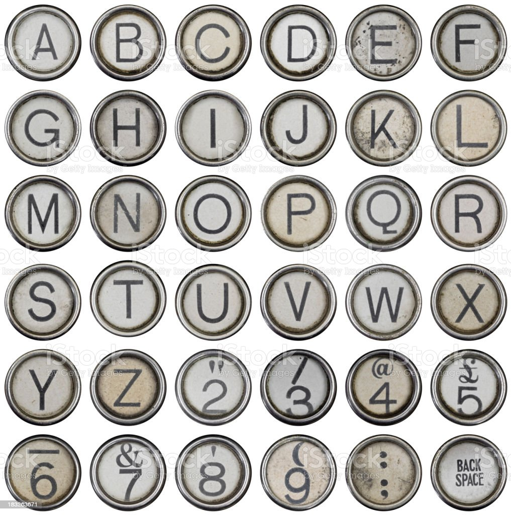 Full alphabet and numbers from grungey typewriter stock photo