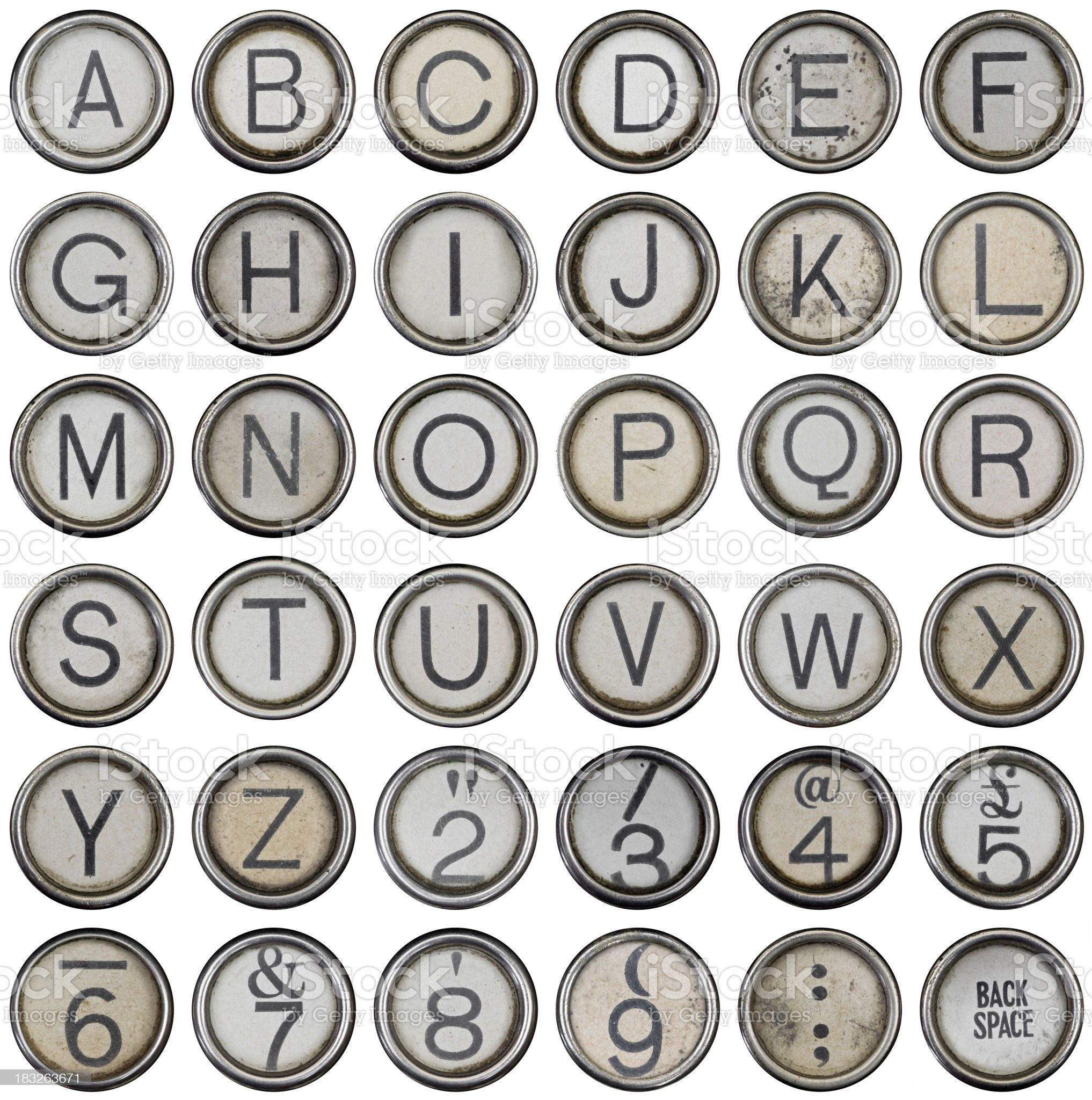 Full alphabet and numbers from grungey typewriter royalty-free stock photo