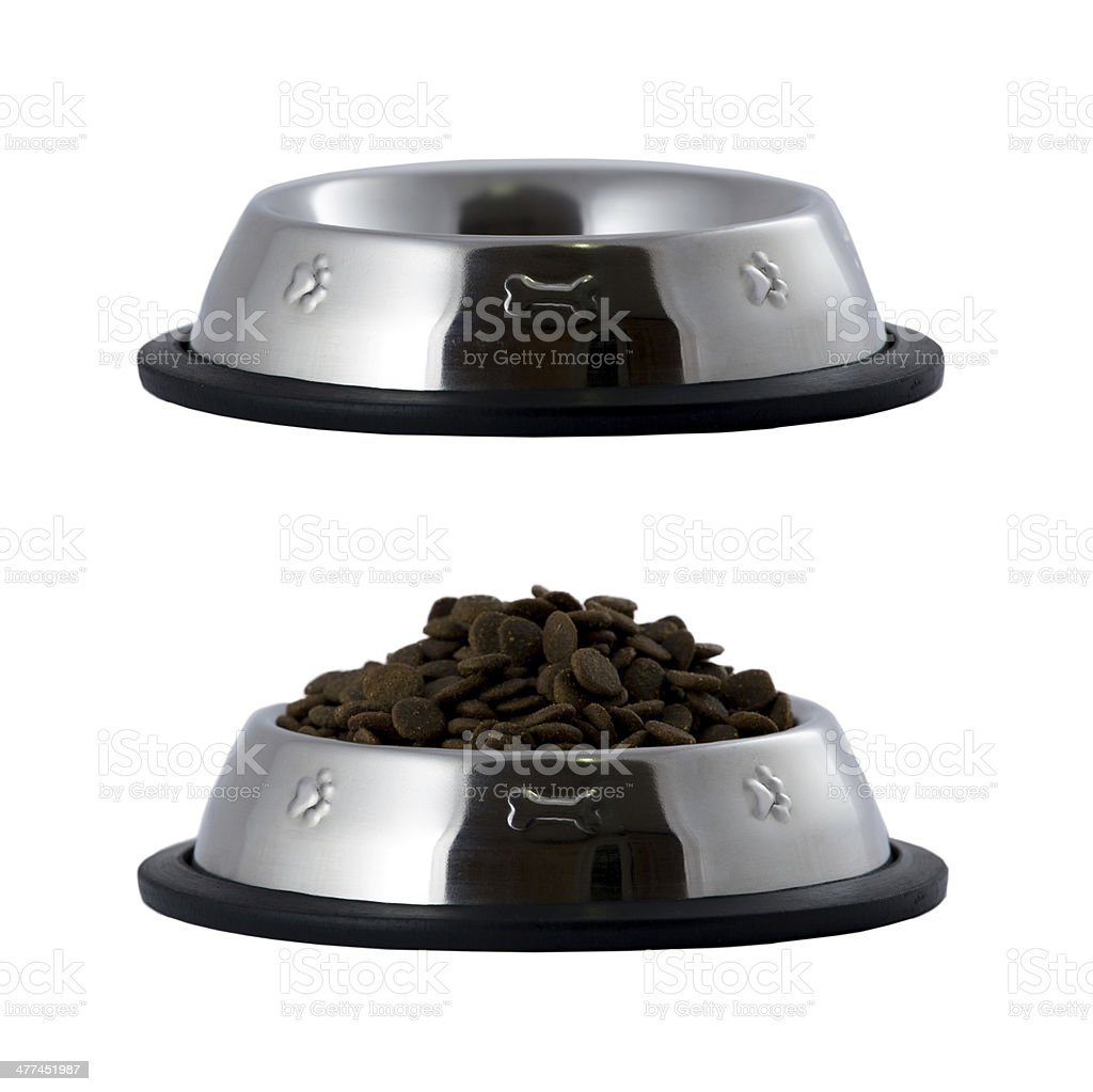 full and empty pet bowls white isolated stock photo